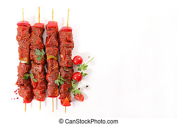 raw skewer isolated on white background