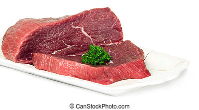 Raw sliced meat on plate