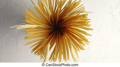 Raw spaghetti with wheat