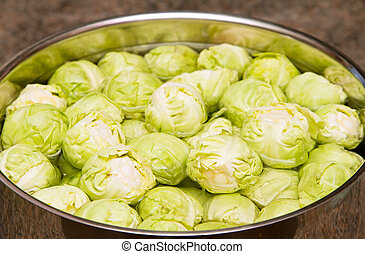 Raw sprouts in a pan of water