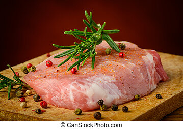 Raw steak and spices