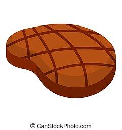 Raw steak icon, flat style