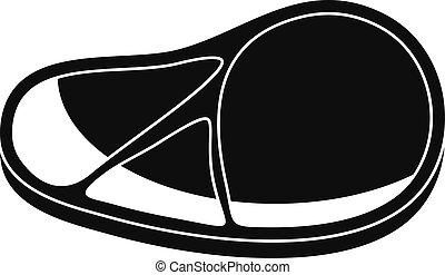 Raw steak icon, simple style
