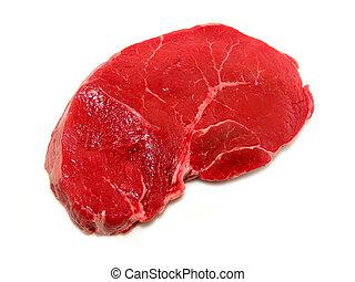 Raw steak on white background
