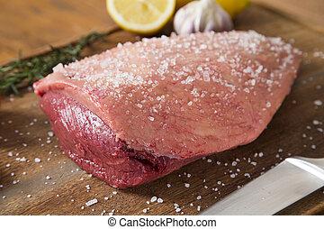 raw steak on wooden board