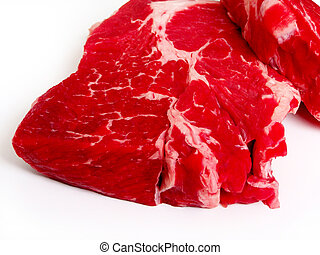 Raw Steak - Steak, two raw over white.
