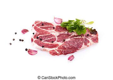 Raw Steaks Of Pork Neck Over White