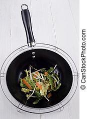 raw stir fry in a black wok