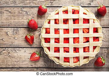 Raw strawberry pie preparation cake pastry food recipe