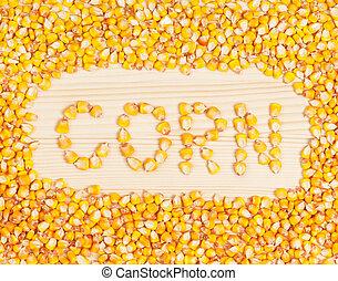 Raw sweetcorn corns