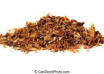 raw tobacco against white
