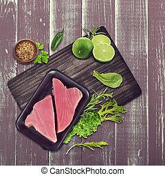 Raw tuna fillet