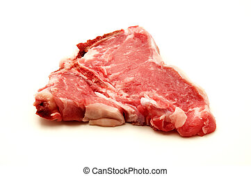 Raw veal loin chop on a white background