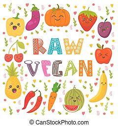 Raw vegan. Cute happy fruits and vegetables in vector. Healthy food concept card