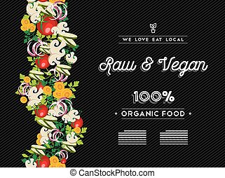 Raw vegan food menu template with vegetables