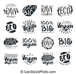 Raw vegan labels, badges and design elements with hand-drawn...