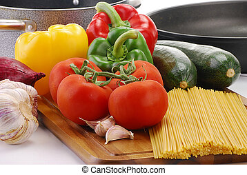 Raw vegetables and spaghetti - Composition with raw ...