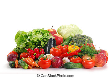 Raw vegetables isolated on white - Composition with fresh ...