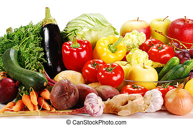 Raw vegetables isolated on white