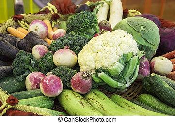 Raw vegetables on sale