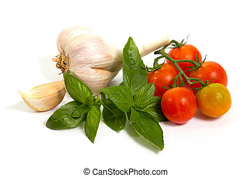 Raw vegetables on white
