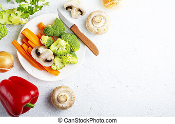 raw vegetables - Raw vegetables on a table. Fresh pepper ...