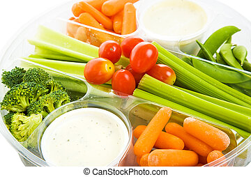 Raw Veggie Tray Closeup - Closeup view of a party tray of ...