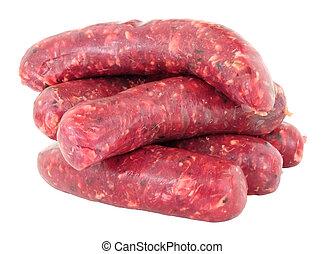 Raw Venison Meat Sausages - Raw venison meat sausages...