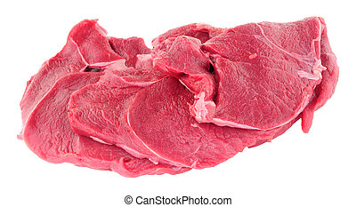 Raw Venison Steaks - Raw venison meat steaks isolated on a...