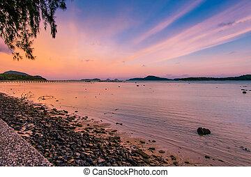 rawai, thailand., côté, island., phuket, méridional, jetée, phuket