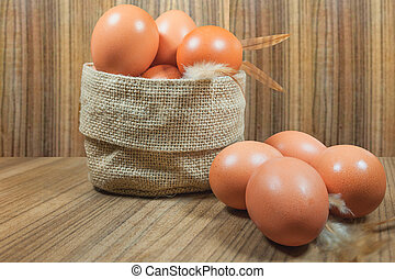 rawfood, wood., cesta, eggs., egg., brown., huevos
