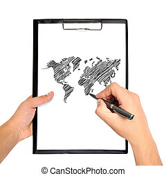 rawing world map - hand drawing world map on clipboard