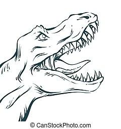 rawring dinosaur portrait
