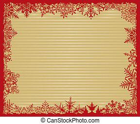 rayé, arrière-plan rouge, or, flocon de neige
