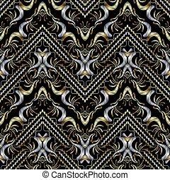 rayé, broderie, or, argent, noir, seamless, pattern., floral, ba