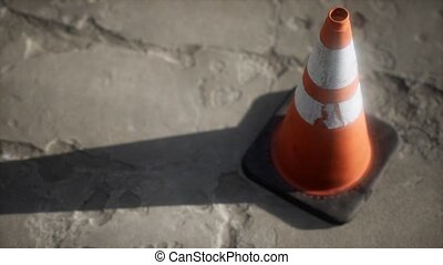 rayé, cône, blanc, trafic, orange