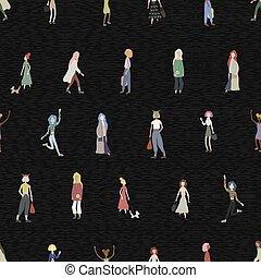 rayé, caractères, debout, dessin animé, isolé, plat, seamless, marche, gens, modèle, shopping., noir, foule, arrière-plan., femme, style., danse