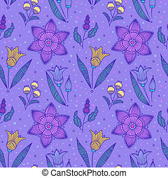 rayé, fleurs, seamless, violet
