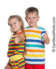 rayé, mode, chemises, enfants
