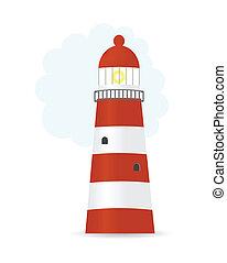rayé, vecteur, phare, illustration
