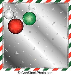 rayé, vert, noël ornements, rouges
