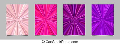 Ray burst flyer background template set - vector stationery designs from striped rays