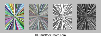 Ray burst flyer background template set - vector stationery illustrations