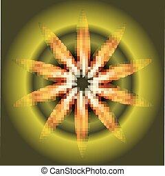 Ray fire circle Burst on dark green