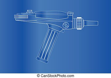 Ray Gun Blueprint - An old style ray gun blueprint as may...