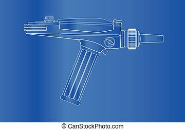 Ray Gun Blueprint - An old style ray gun blueprint as may...