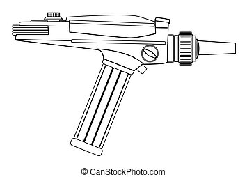 An old style ray gun as may have been used in 60's sci-fi movies and TV series in line drawing form