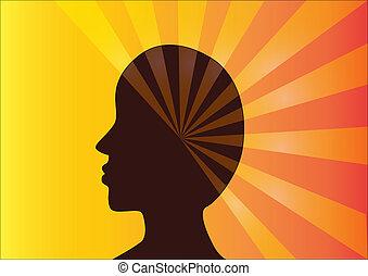 ray., person, silhuett, profil