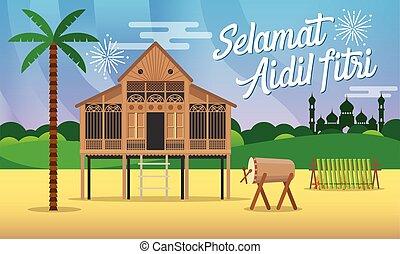 raya, aidil, vector, aldea, plano, selamat, tarjeta, hari, ilustración, malayo, estilo, saludo, tradicional, fitri, casa