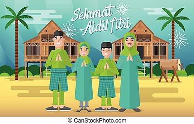 raya, aidil, vector, plano, selamat, carácter, tarjeta, hari, ilustración, estilo, familia , saludo, fitri, musulmán